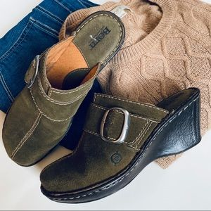 Born • olive green suede mules